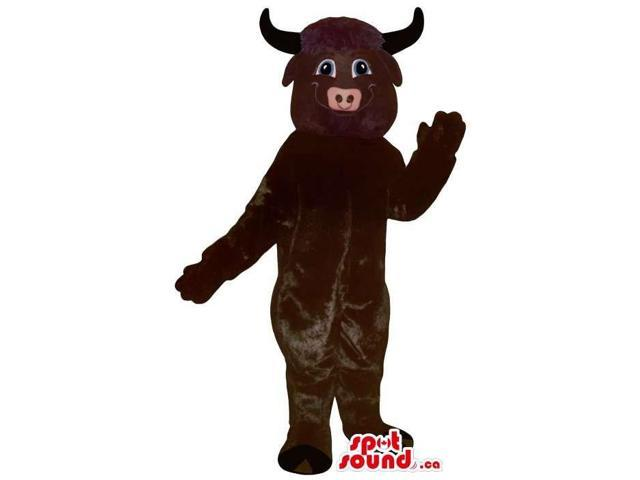 Cute Dark Brown Bull Animal Plush Canadian SpotSound Mascot With Black Horns