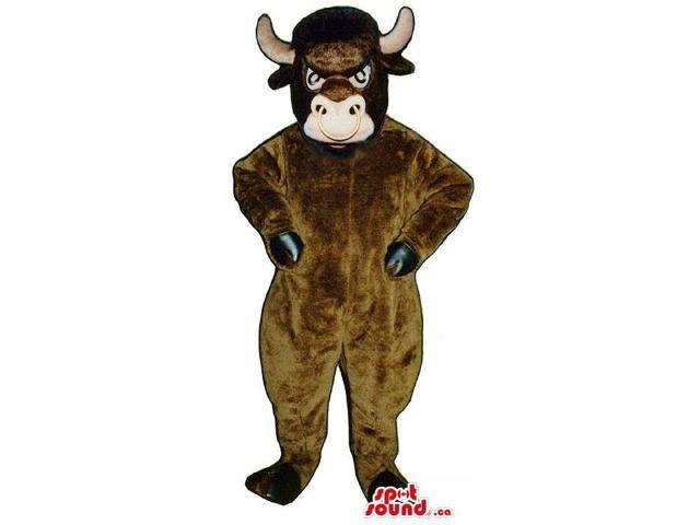 Wild Dark Brown Bull Animal Plush Canadian SpotSound Mascot With A Nose Ring