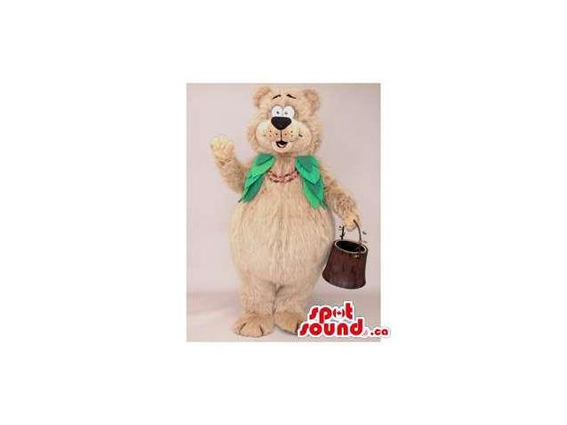 Beige Lady Bear Forest Plush Canadian SpotSound Mascot With Green Vest