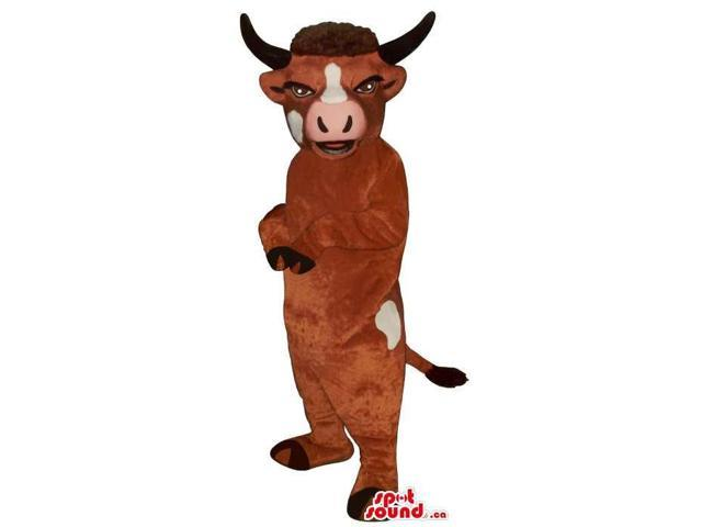 Brown Cow Plush Canadian SpotSound Mascot With White Spots And A Pink Nose