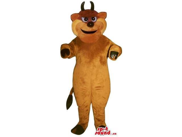 All Brown Bull Animal Plush Canadian SpotSound Mascot With Black Horns