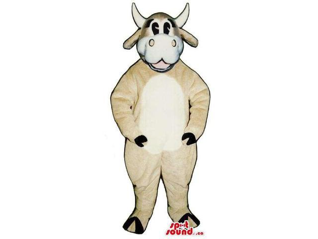 Peculiar Beige And White Milk Cow Animal Plush Canadian SpotSound Mascot