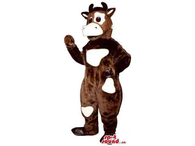 Brown Cow Canadian SpotSound Mascot With White Spots And A Peculiar Face