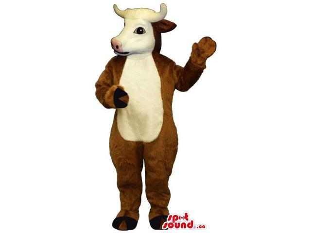 Brown Cow Animal Plush Canadian SpotSound Mascot With A White Belly And Face