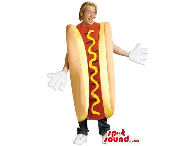 Large Hot-Dog With Mustard Plush Adult Size Costume Or Canadian SpotSound Mascot