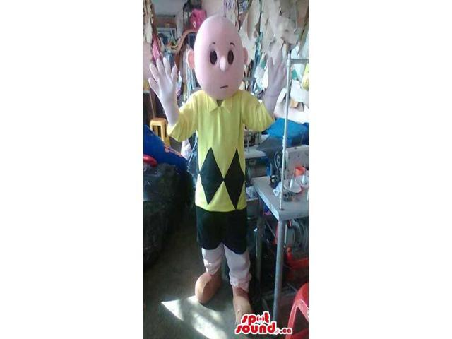 Cartoon Bold Boy Plush Canadian SpotSound Mascot Dressed In A Yellow Customised Top