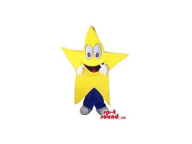 Peculiar Large Yellow Star Canadian SpotSound Mascot With Cartoon Face