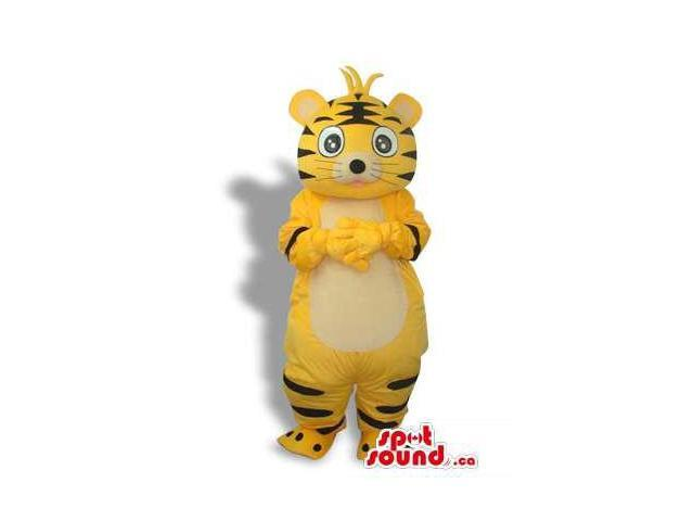 Cute Cartoon Yellow Tiger Plush Canadian SpotSound Mascot With Black Lines