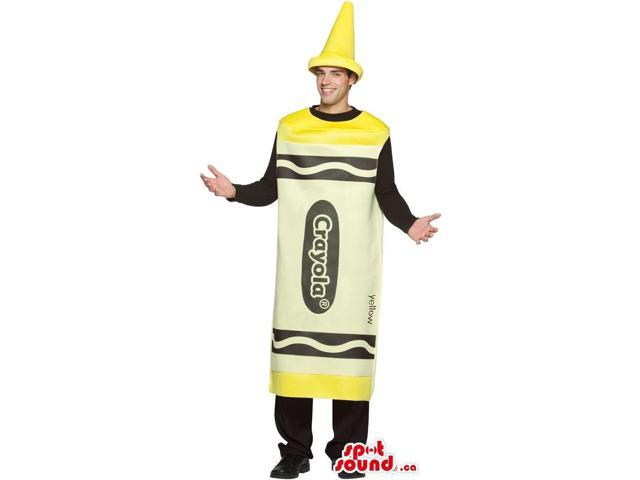 Cool Yellow Crayola Brand Name Crayon Adult Size Costume