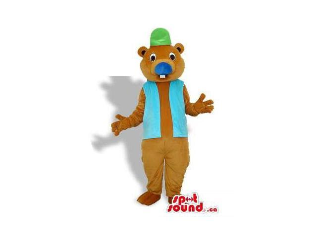 Otter Or Beaver Canadian SpotSound Mascot With A Vest And A Green Hat