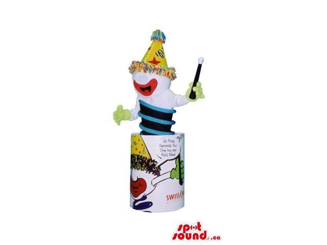 Jack In The Box Clown Canadian SpotSound Mascot Gadget With A Party Hat And Text