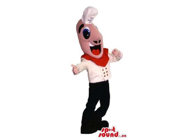 Hilarious Boy Chef Human Canadian SpotSound Mascot With White And Red Clothes
