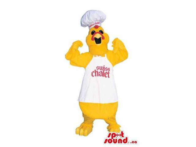 Yellow Chicken Plush Canadian SpotSound Mascot Dressed In Chef Clothes With Text