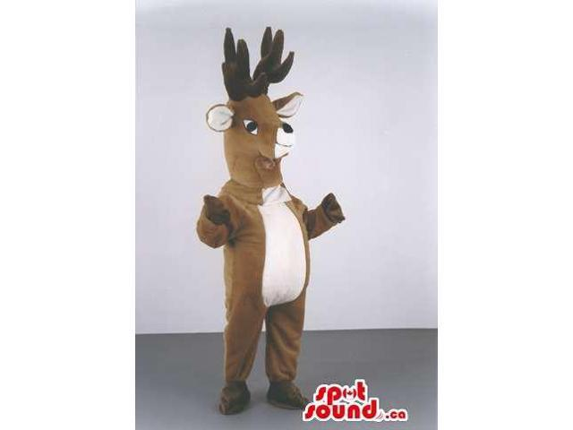 Brown Reindeer Animal Canadian SpotSound Mascot With Huge Horns And White Belly