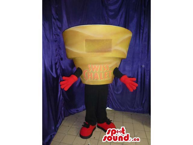 Customised Cheese Canadian SpotSound Mascot With A Brand Name And No Face
