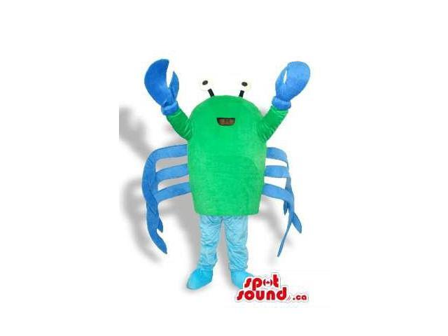 Customised Green And Blue Crab Sea Animal Plush Canadian SpotSound Mascot