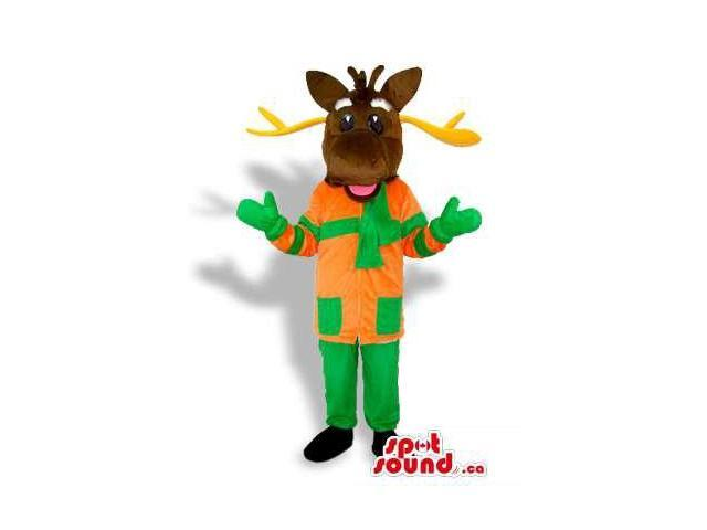 Dark Brown Reindeer Dressed In Orange And Green Winter Clothes