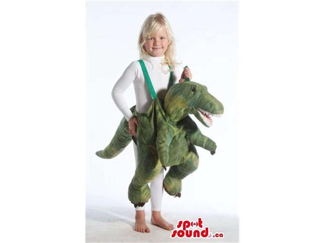 Cute Green Dinosaur Plush Children Size Costume On Expanders