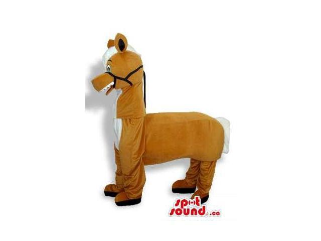 Brown Plush Donkey Canadian SpotSound Mascot Standing On All-Fours With Black Reins