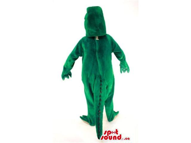 Cool Large Green Dinosaur Plush Canadian SpotSound Mascot With A Yellow Belly
