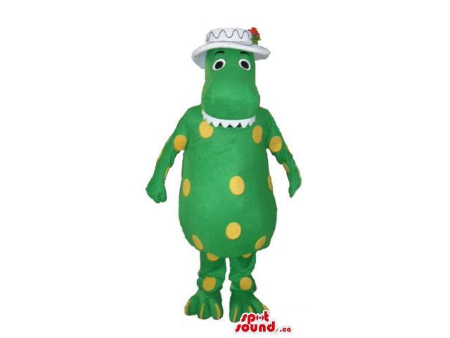 Green Lady Dinosaur Plush Canadian SpotSound Mascot With Yellow Dots, Dressed In A Hat