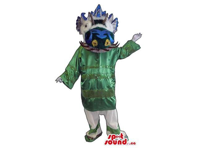 Oriental Character Plush Canadian SpotSound Mascot Dressed In Shinny Green Gear