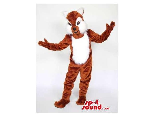 Brown And White Chipmunk Plush Canadian SpotSound Mascot With White Woolly Cheeks