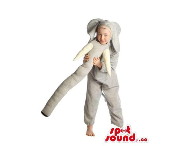 Grey Elephant Children Size Costume With Long Trunk