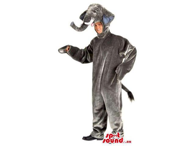 All Grey Shinny Elephant Adult Size Plush Costume