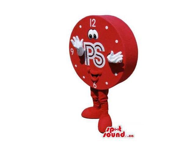 Great Red Clock Canadian SpotSound Mascot With A Happy Face And Logo