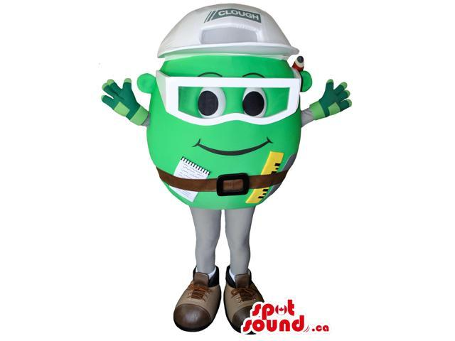 Great Green Round Canadian SpotSound Mascot With A Happy Face And Tools