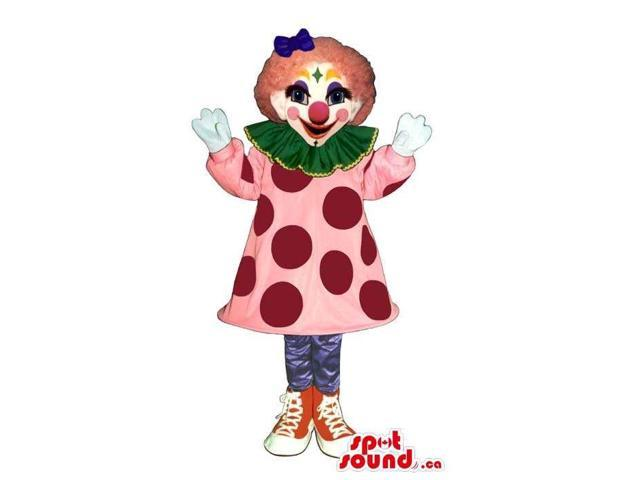 Colourful Girl Clown Canadian SpotSound Mascot Or Costume With A Pink Dress