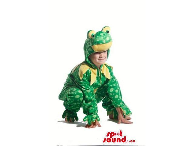 Green And Yellow Frog Children Size Costume With Spots