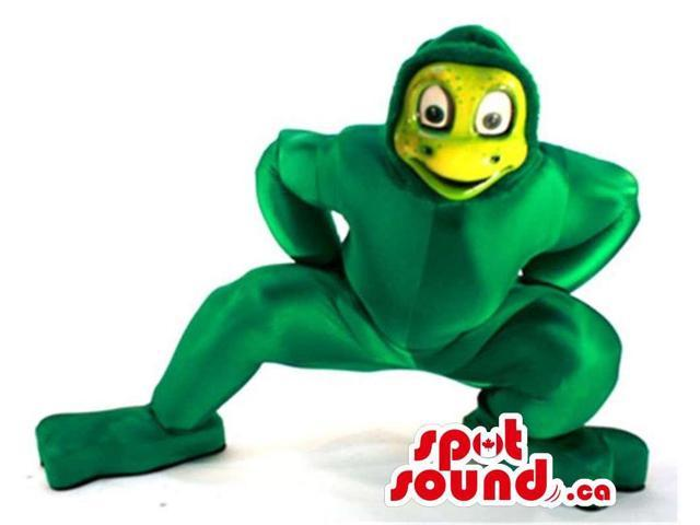 Green Shinny Material Frog Canadian SpotSound Mascot With A Yellow Face