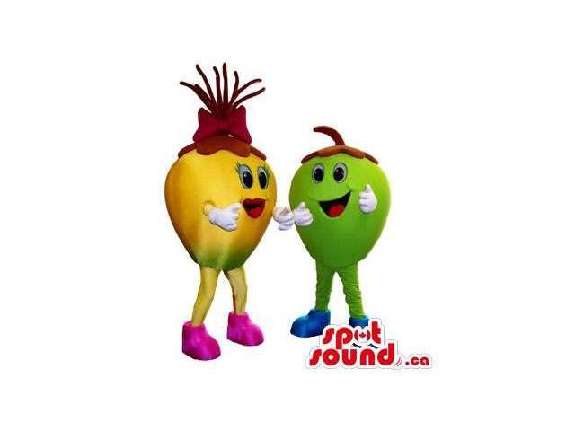 Apple Fruit Plush Canadian SpotSound Mascots In Green And Yellow