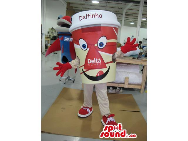 Red Large Coffee Cup Plush Canadian SpotSound Mascot With Text And Logo
