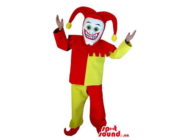 Peculiar Yellow And Red Clown Clown Canadian SpotSound Mascot Or Costume