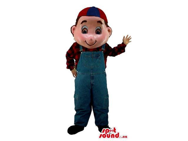 Boy Human Character Canadian SpotSound Mascot Dressed In Overalls And A Cap
