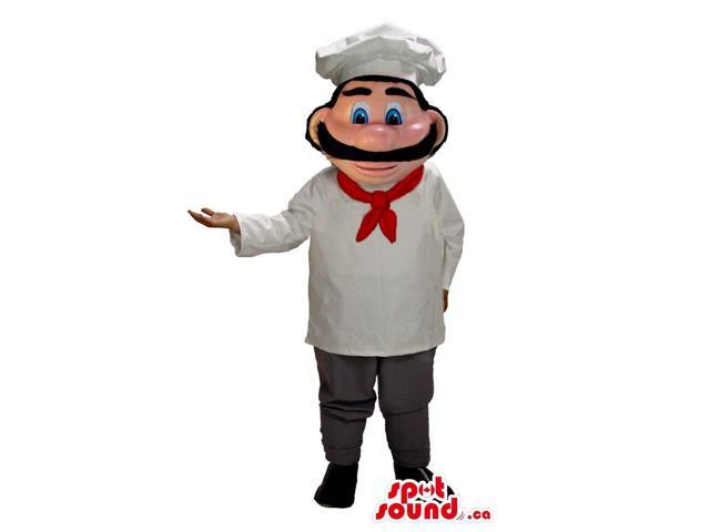 Human Character Canadian SpotSound Mascot With A Moustache Dressed In Chef Clothes