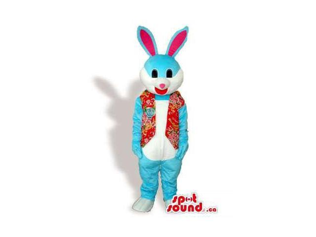 Blue Rabbit Animal Plush Canadian SpotSound Mascot Dressed In A Red Vest