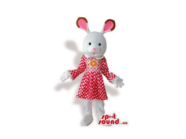 White Rabbit Girl Plush Canadian SpotSound Mascot Dressed In A Red Dress With Dots