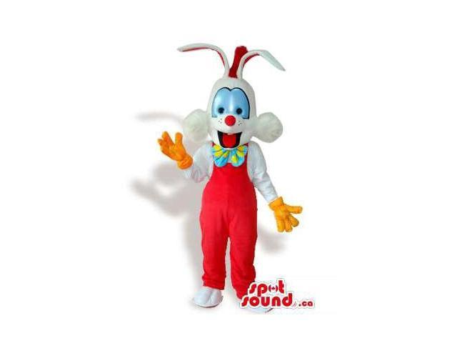 Roger Rabbit Cartoon Character Canadian SpotSound Mascot With Large Blue Eyes