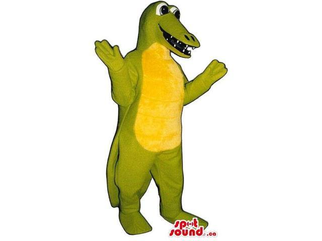 Light Green Alligator Jungle Animal Canadian SpotSound Mascot With A Yellow Belly