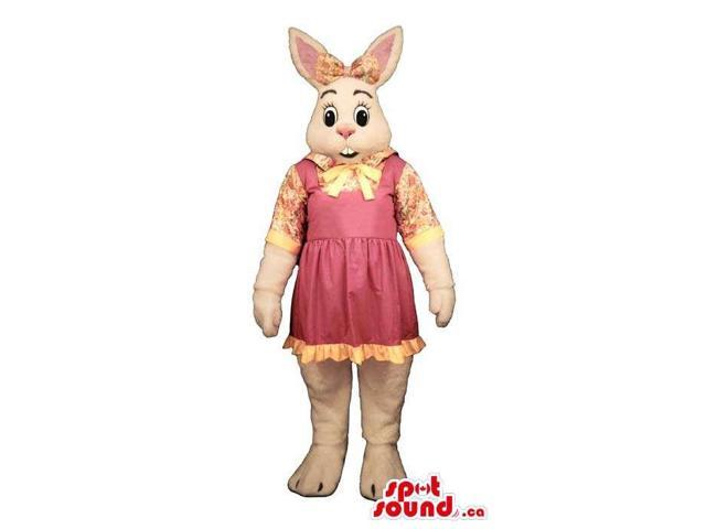 White Rabbit Girl Plush Canadian SpotSound Mascot Dressed In A Pink Dress