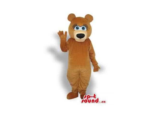 Brown Girl Bear Forest Plush Canadian SpotSound Mascot With Blue Eyes