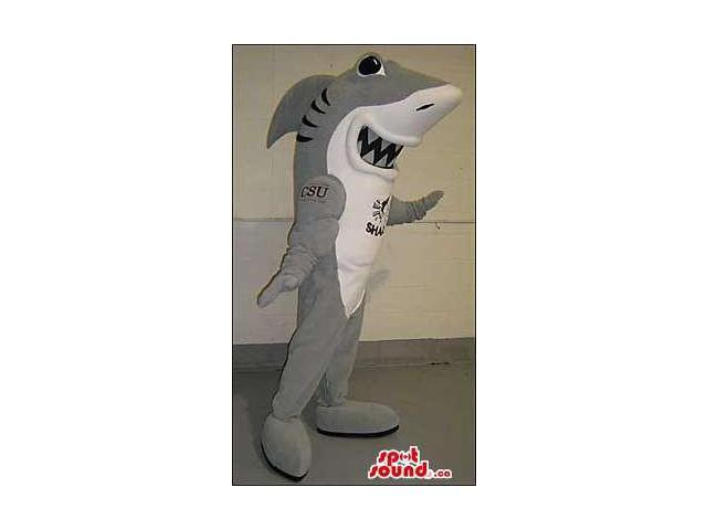 Grey And White Shark Animal Canadian SpotSound Mascot With Logos And Text