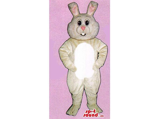 White Rabbit Animal Plush Canadian SpotSound Mascot With A Pink Nose And Ears