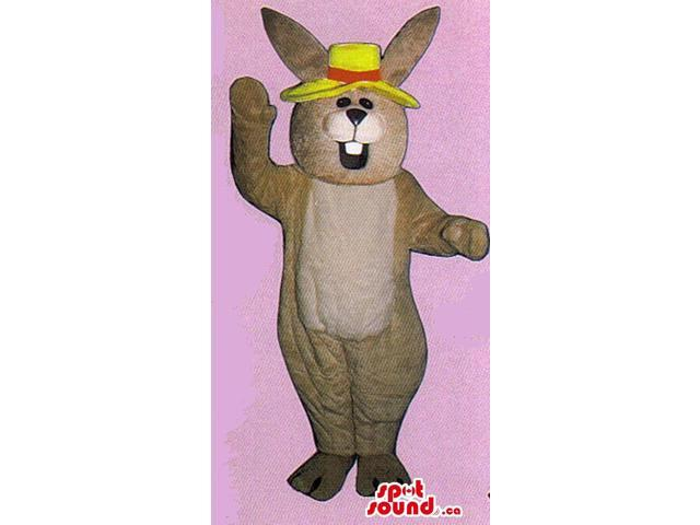 Light Brown Rabbit Plush Canadian SpotSound Mascot Dressed In A Yellow Hat