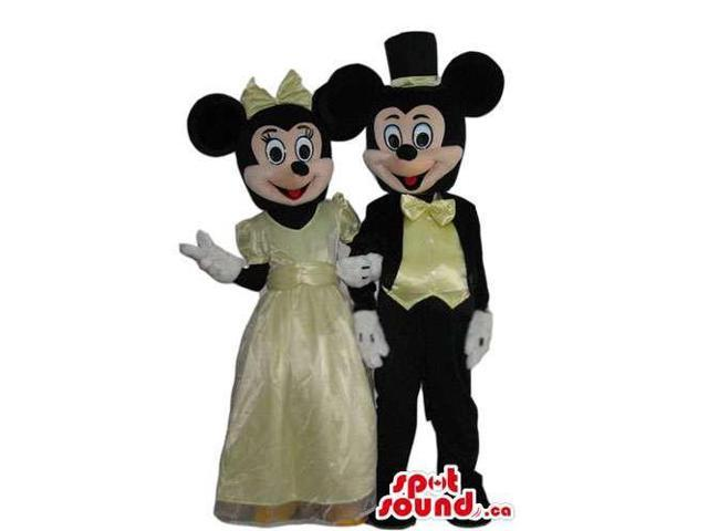 Mickey And Minnie Mouse Canadian SpotSound Mascots With Elegant Yellow Gear