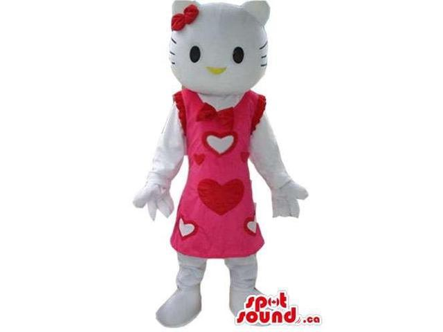 Kitty Cartoon Character Plush Canadian SpotSound Mascot Dressed In A Pink Dress